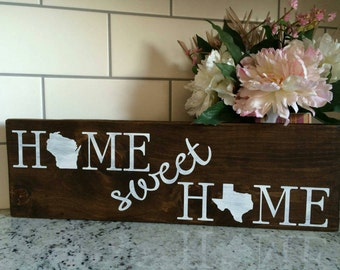 Home sweet home customized states wooden board