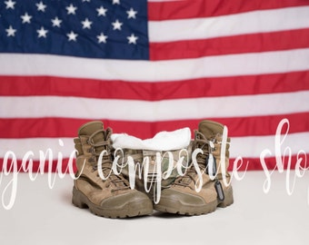 Digital Prop/Backdrop {Military Army Baby Flag Boots Helmet}