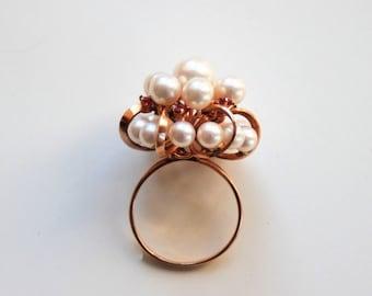 14K Meringue of pearls and rubies ring