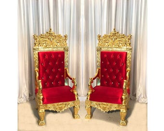 Two Throne Chair Package - Red w/ Gold Trim