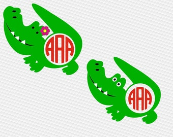 Alligator monogram SVG Clipart Cut Files Silhouette Cameo Svg for Cricut and Vinyl File cutting Digital cuts file DXF Png Pdf Eps vector