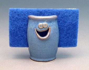 Denim Blue, Sponge Holder, Ceramic Sponge Holder, Pottery Sponge Holder, Kitchen Sponge Dish, Handmade Sponge Keeper