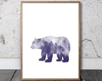 Bear Print - Bear Wall Art, Digital Download, Creative Art Print, Children Wall Art, Forest Print, Woodland Animal, Double Exposure