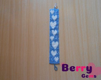 Light Blue Beaded Bracelet with Creamy Hearts (Price Includes Shipping Fees)