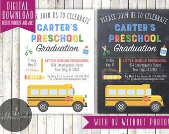 Preschool Graduation Invitation, Kindergarten Graduation Invitation, Photo - Printable DIY