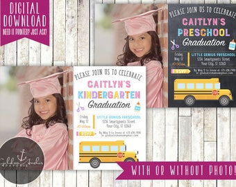Girl Preschool Graduation Invitation, Girl Kindergarten Graduation Invitation, Photo - Printable DIY
