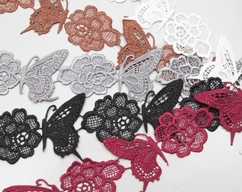 Butterfly Flower, Lace Trims, Cotton Lace, Embroidery Lace, Applique Embroidery - 1 meter