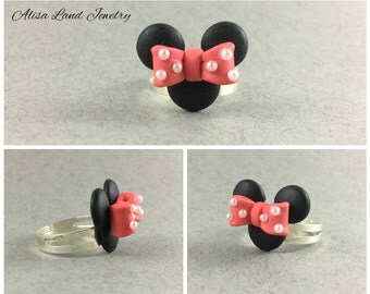 Minnie mouse ring, Cartoon ring, Polymer clay jewelry, Black pink ring, Polymer clay ring, Gift for her, Girls small ring, Birthday present