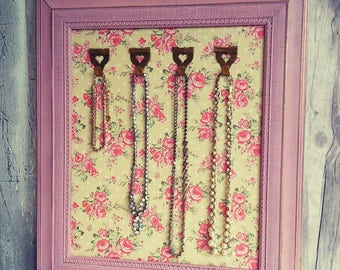 Jewelry holder frame, up cycled frame, Necklace display, necklace hanger, necklace organizer,  framed jewelry holder, wall jewelry holder