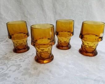 Vintage amber Anchor Hocking Georgian thumbprint glass tumblers, set of 4, drinkware, barware