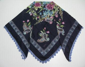 "Turkish ""oya"" scarf - shawl,beaded crocheted edging scarf,beaded crocheted trim scarf,Turkish  scarf,oya scarf, traditional Turkish scarf"