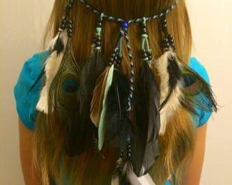 Boho feather headband, Feather, headband, native, american, style, indian headband, hippie headband, Hair Jewelry,