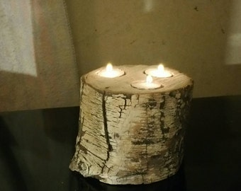Rustic candle holder ,  Aspen log candle holder,  wood candle holder