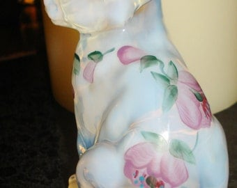 Beautiful FENTON Sitting Cat French Opalescent Trellis Pattern FREE SHIPPING