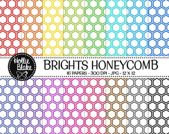 Buy 1 Get 1 Free!! 16 Bright HoneyComb Digital Paper • Rainbow Digital Paper • Commercial Use • Instant Download • #HONEYCOMB-101-1-B