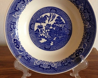 "Willow Ware  ""Blue Willow"" Salad Bowl, 8.25"". Made in England, by Royal China."