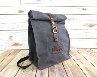 Waxed Canvas Lunch Bag With Shoulder Strap in Gray - Waxed Canvas Lunch Tote - Waxed Canvas Bag