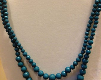 Vintage Deep Teal Double Strand Necklace