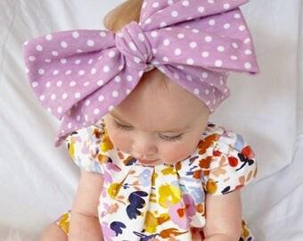 LILAC POLKA DOTS Soft Baby Headwrap; Big bow; baby toddler headband; newborn hair wrap
