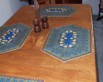 Moving SALE: Quilted Reversible Iris Floral Placemats Set of Four