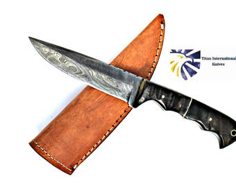 Hand forged knife, Damascus knife, Hand forged Damascus, Hand made hunting knife, Camping knife by Titan Td-400