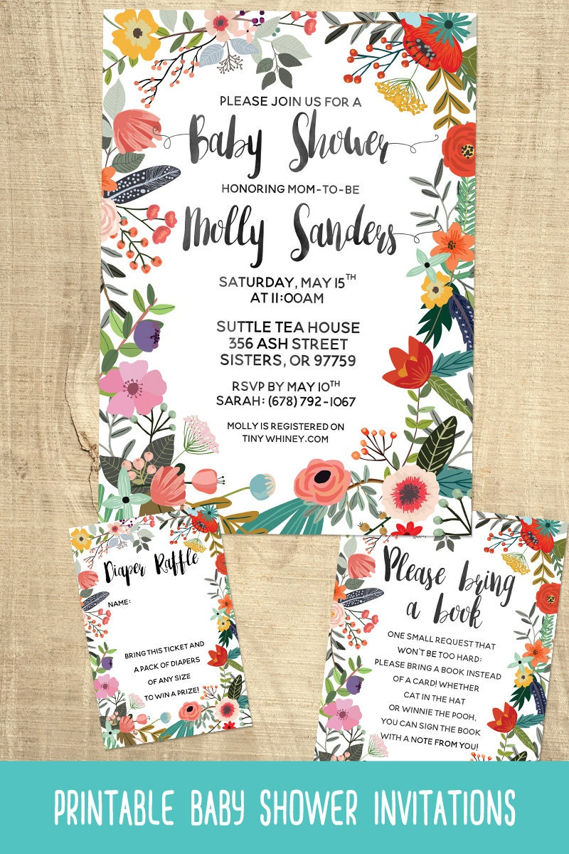 Printable Invitation Suite- Flower Baby Shower Invitations with ...