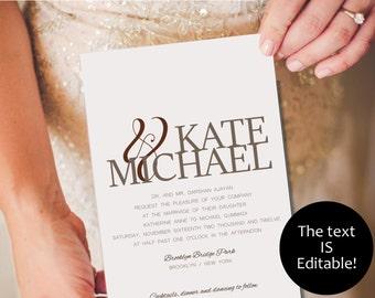 Modern Wedding Invitation Set - Digital Template