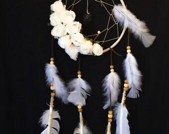 Dreamy white rose & white feather dream catcher.