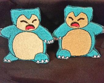"Snorlax Pokemon - 2.75"" x 2.5"" - Iron On Embroidery Patch"