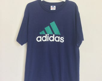 90's ADIDAS big logo spell out blue color made in USA