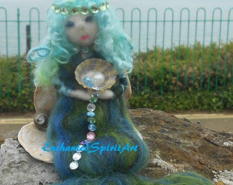 "Mermaid ""Serena"" Waldorf Inspired Needle Felted of 100% Merino Wool"