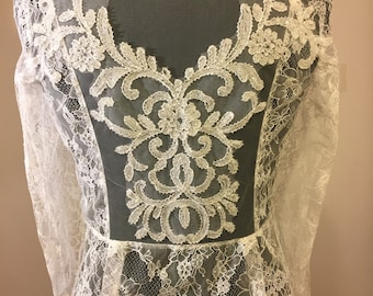 French lace peplum top with illusion back detail-Ivory.