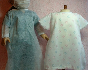 Surgical Scrubs, Gown and Hospital Johnny Set, 18 inch doll clothes, fits American Girl Doll