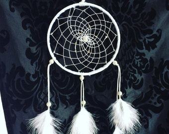 White dream catcher with illusion beads (light reflective)
