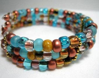 Beaded Cuff Memory Wire Bracelet