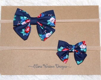 Navy blue floral sailor bow headband; regular and mini size