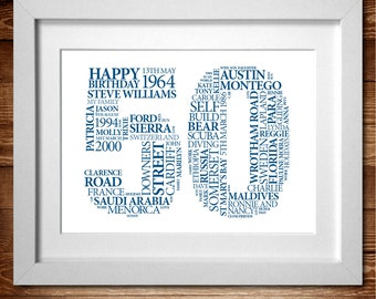 Birthday '50' Word Art Personalised Print* A4 (also available in A3)