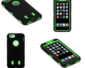 Green and Black Hard Shock Proof Armour Tough Case Cover for iPhone 6 and 6S