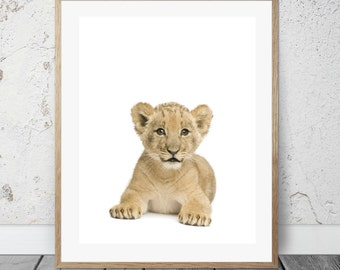 Lion Cub, Nursery, 8x10 Printable, Baby Animals, Jungle Animals