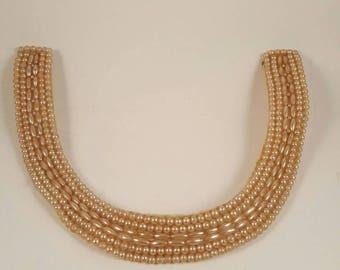 Vintage Japanese Faux Pearl Choker Necklace with silk type backing....
