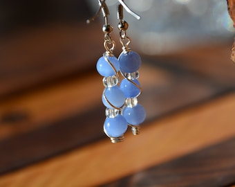 Blue Bead Earrings with Silver Wrap