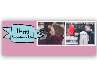 Valentine's Day Facebook Cover Photo Template - Banner Cover Photo Photographer Facebook Timeline Cover, Photoshop PSD *INSTANT DOWNLOAD*
