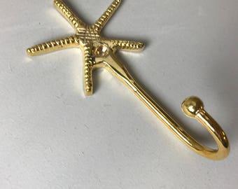 Gorgeous GOLD STARFISH HOOK - Metal Home decor Hook