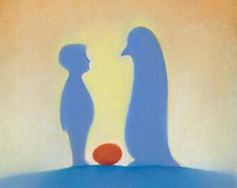 Penguin pastel, Pastel art, Fairy tale art, Children's art, Children's illustration, Art print
