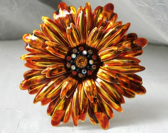 Joan Rivers Metal Flower Brooch, Rhinestone Jewelry , Statement , Hollywood Designer