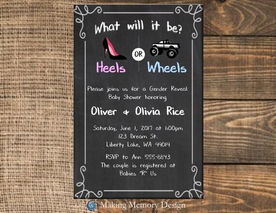 Heels Or Wheels Gender Reveal Baby Shower Invitation