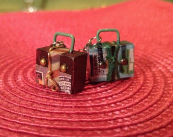 Earrings small suitcases. Pretty miniature suitcases for your ears! Original creation.