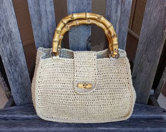 Vintage Ann Taylor Woven Straw Bamboo Top Handle Handbag Purse