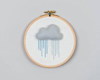 Cloud Wall Art, Nursery Wall Art, Cloud Embroidery Hoop Wall Art, Cloud Wall Hanging, Cloud Hoop, Nursery Decor, Kids Room Decoration