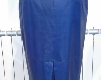 Long blue leather skirt size 16